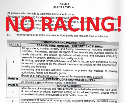 No horse racing under level 4 lockdown in SA